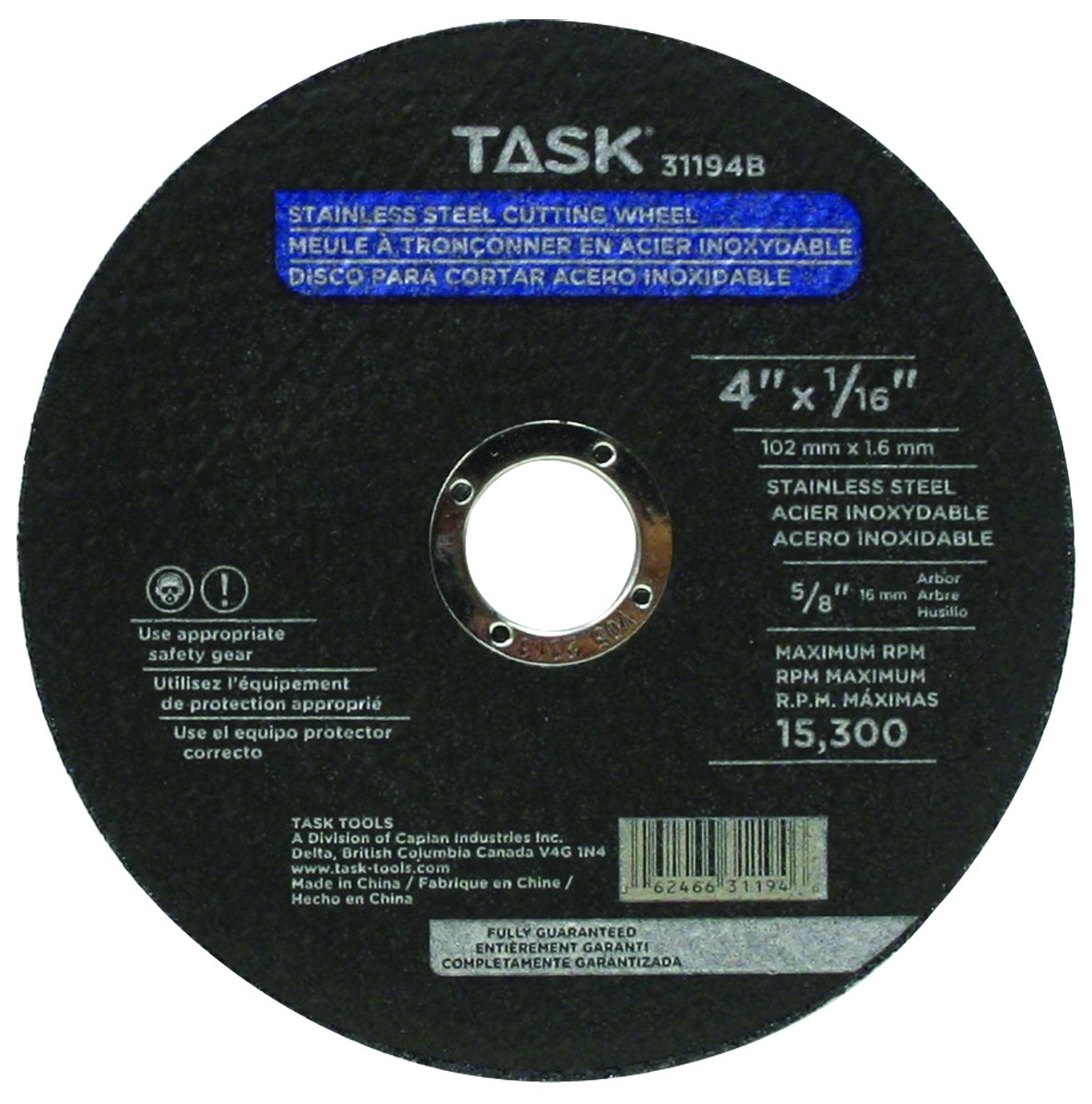 Task Tools 31194B 4 x 1/16-Inch Stainless Steel Cutting ...