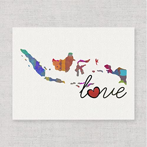 Amazon.com: Indonesia Love - Modern & Whimsical Watercolor-Style ...