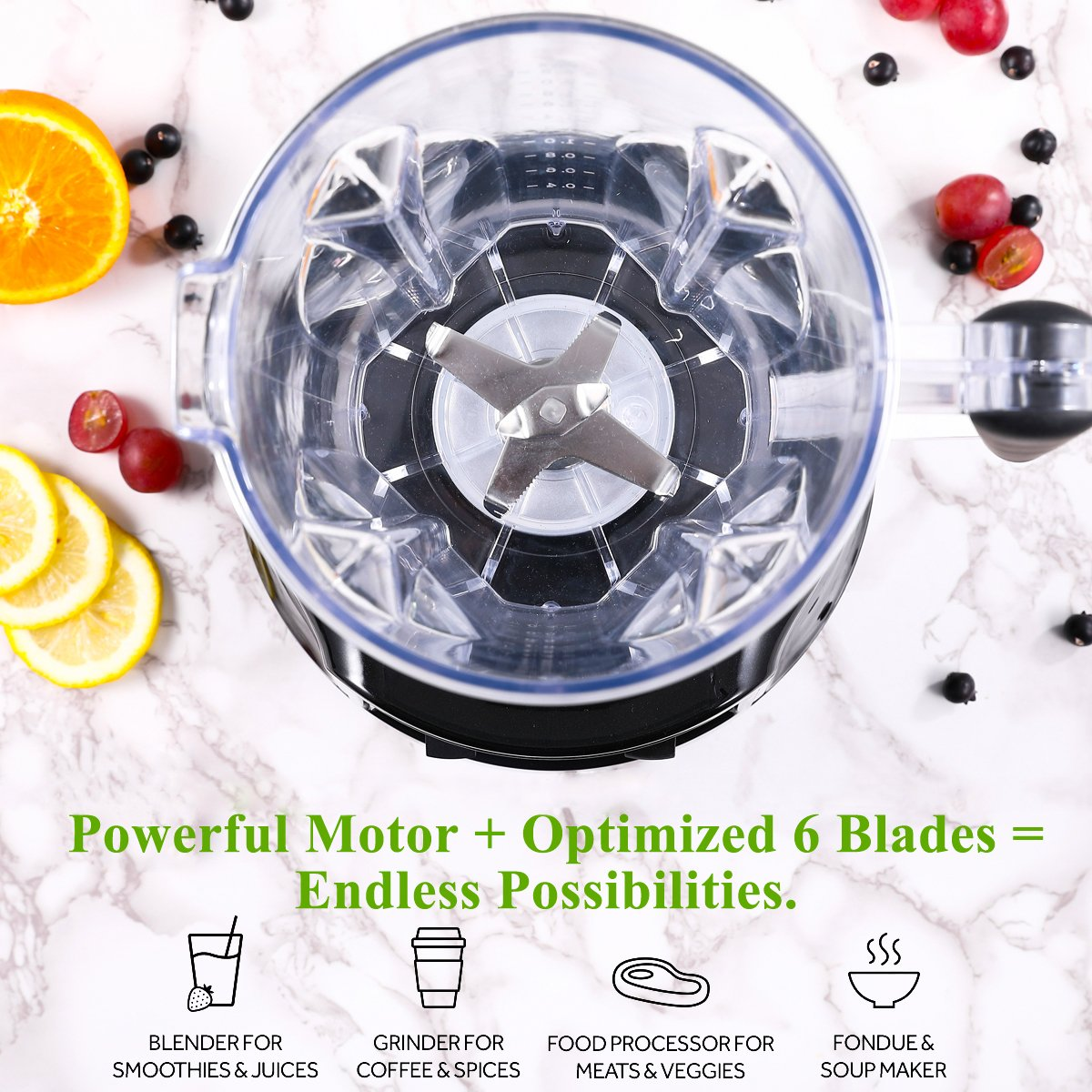 Professional Smoothie Blender Aimores | 750z High Speed Juicer, Ice Cream Maker | Optimized 6 Sharp Blades | Auto Clean & Simple Control | w/ Recipe & Tamper | ETL & FDA Certified (Silver) by ISUN (Image #3)