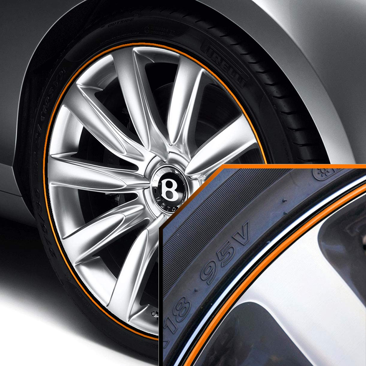 Upgrade Your Auto Wheel Bands Blue in Black Pinstripe Trim for Bentley Continental GT Full Kit