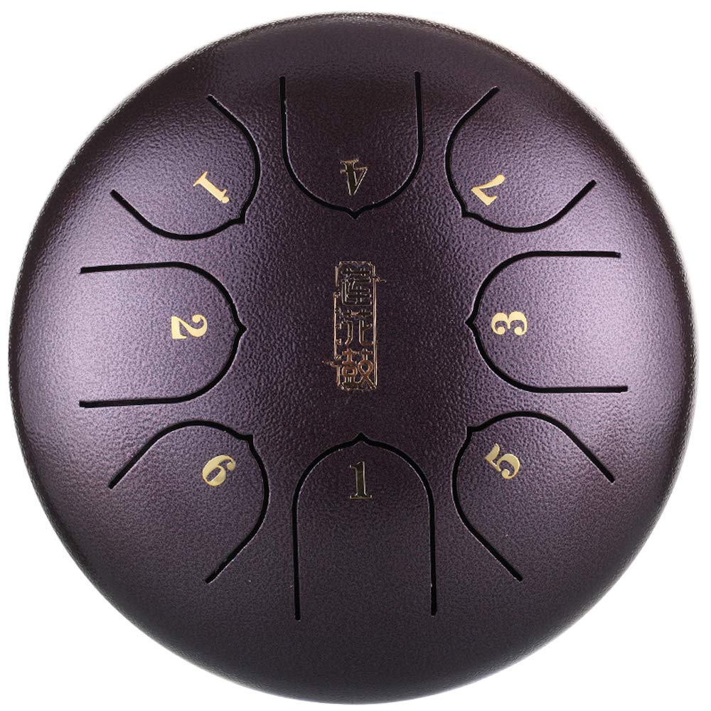 Festnight Steel Tongue Drum, 6 Inch Mini Percussion Instrument 8 Notes Hand Pan Drum for Music Lovers (Squat)