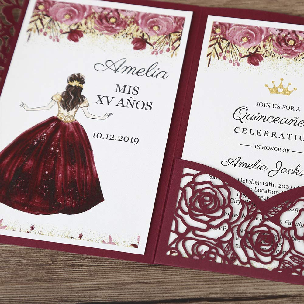Doris Home 50pcs 4.7 x7.1 inch wedding invitations with envelopes for Bridal Shower Invitations, Dinner Invitations, CW0008 (Burgundy, 50pcs Blank) by Doris Home (Image #6)