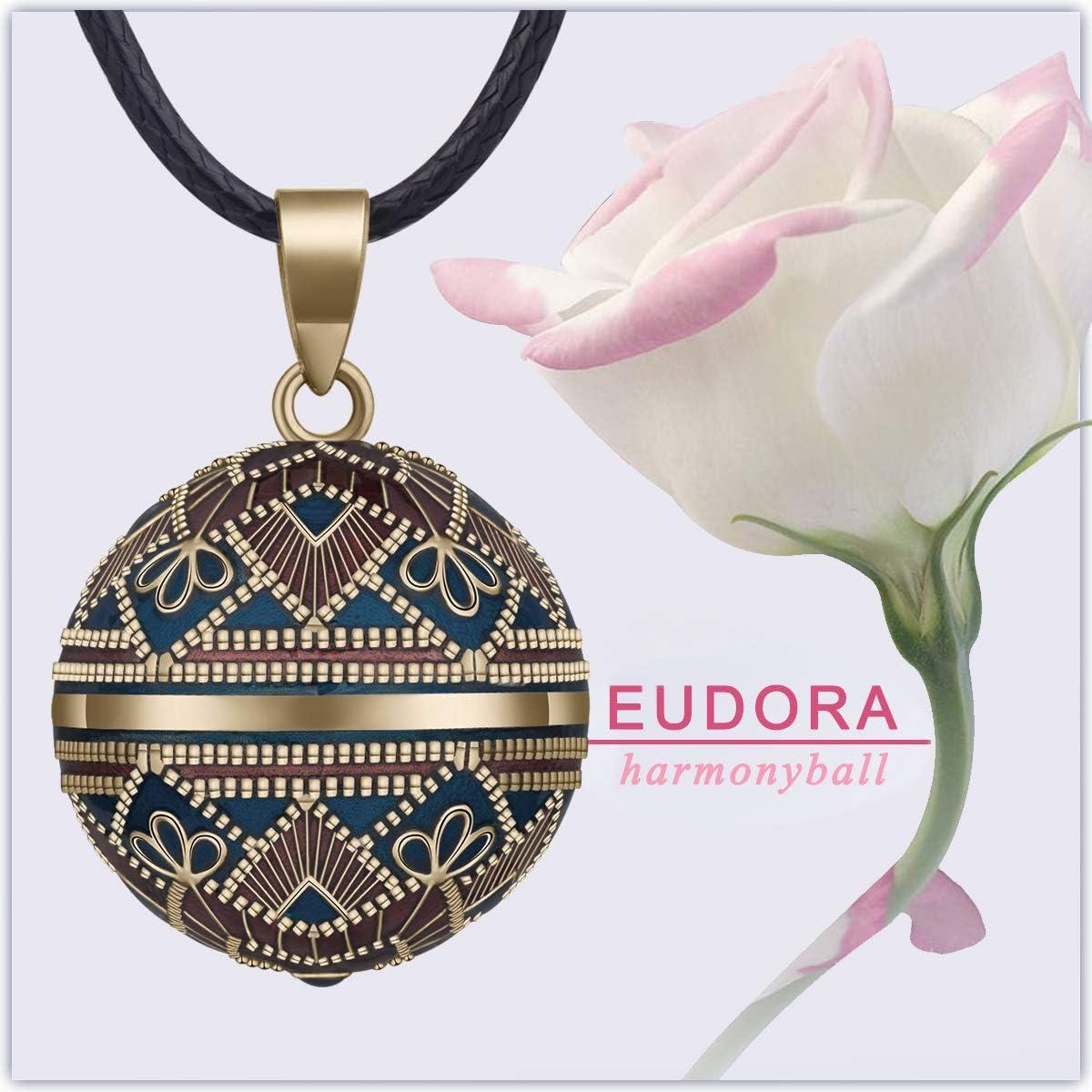 76,2cm+114cm EUDORA Harmony Ball Ancien Style Fleur Musique souhaitant Carillon Boule Pendentif Collier pour Femmes Dames Cadeau de Bijoux