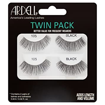 b83f04f3a39 Ardell Twin Pack False Lashes, 105 Black: Amazon.co.uk: Beauty