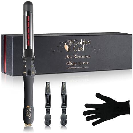 Golden Curl rizador de pelo cabello pelo - con 5 años de garantía para grandes rizos, 32 mm Cerámica turmalina Iron & Pantalla LCD Gyro, todos los tipos de ...