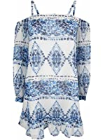 BCBGeneration Women's Printed Cold-Shoulder Dress