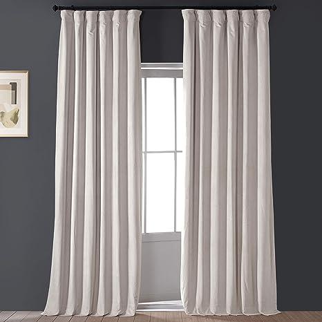 Amazon Com Hpd Half Price Drapes Vpch 120601 96 Signature Blackout Velvet Curtain 1 Panel 50 X 96 Alabaster Beige Home Kitchen