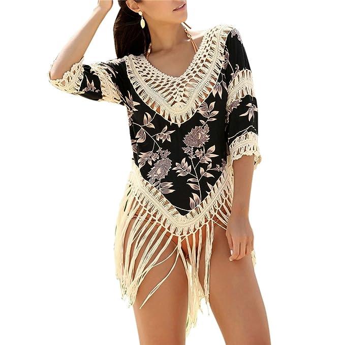 d00877bd6e Daxin Women s Bathing Suit Cover up Beachwear Swimwear Summer V Neck Tassel  Hollow Out Bikini Tops at Amazon Women s Clothing store