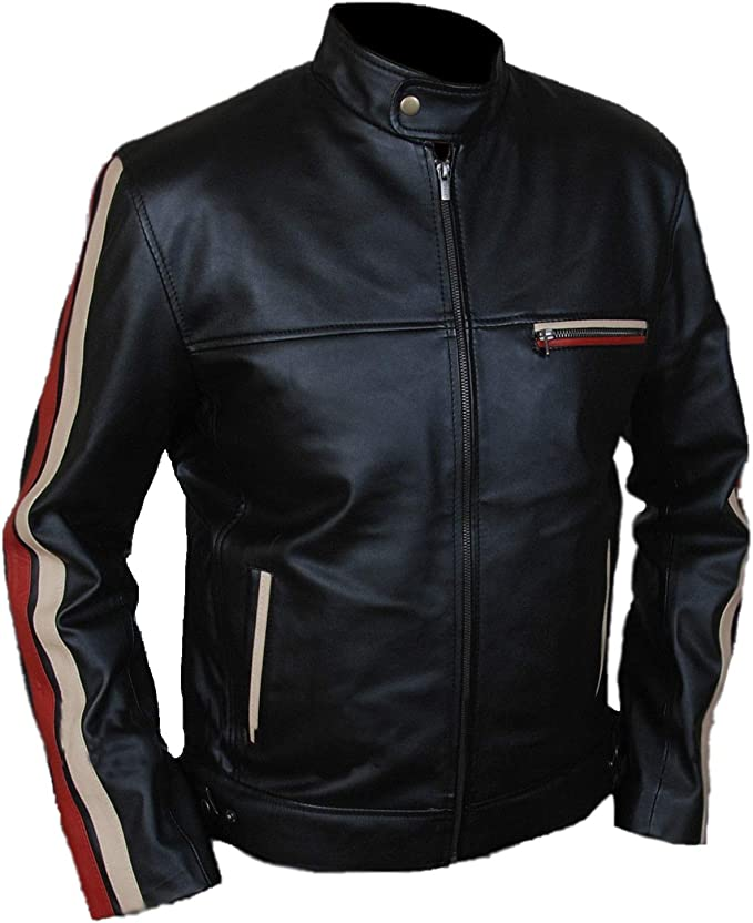 60s 70s Men's Jackets & Sweaters Men's Motorcycle Cafe Racer Racing Biker Stripe Black Real Sheepskin Leather Jacket $119.99 AT vintagedancer.com