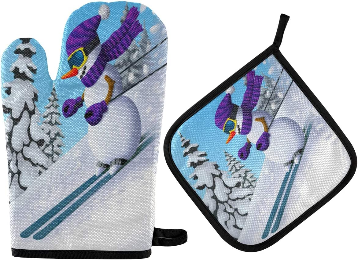 ALAZA Winter Mountains Snowman On Skis Oven Mitts and Pot Holders Sets Heat Resistant Kitchen Oven Gloves Potholder Hot Pad for Cooking Baking Grill