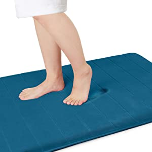 Yimobra Memory Foam Bath Mat Large Size, 55.1 x 24 Inches,Soft and Comfortable, Super Water Absorption, Non-Slip, Thick, Machine Wash, Easier to Dry for Bathroom Floor Rug , Peacock Blue