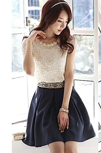 81e19464fbbbd0 Zumeet Women Flower Lace Pattern Top Shirt and Blouse White at Amazon  Women s Clothing store