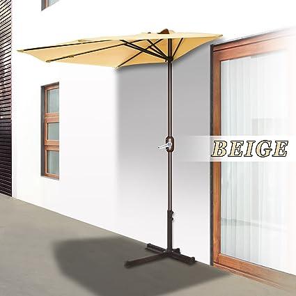 Strong Camel Patio Half Umbrella Wall Balcony Sunshade Market Garden  Outdoor (10u0027, Beige