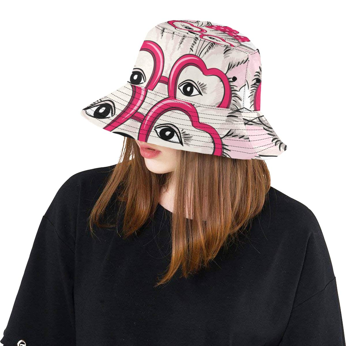 Cartoon Bow Cat Animal Summer Unisex Fishing Sun Top Bucket Hats for Kid Teens Women and Men with Packable Fisherman Cap for Outdoor Baseball Sport Picnic