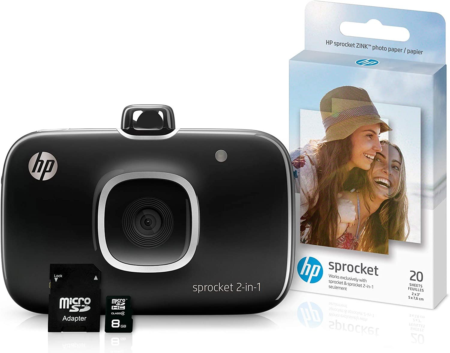 HP 5MS96A Sprocket 2-in-1 Portable Photo Printer & Instant Camera Bundle with 8GB Micro SD Card and Zink Photo Paper, Black (Pack of 3) (Renewed)