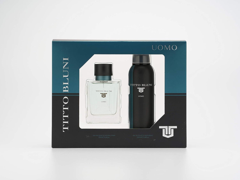 Titto Bluni - Uomo Estuche de Regalo para Hombre, Eau de Toilette 75 ml y Desodorante en Spray 200 ml
