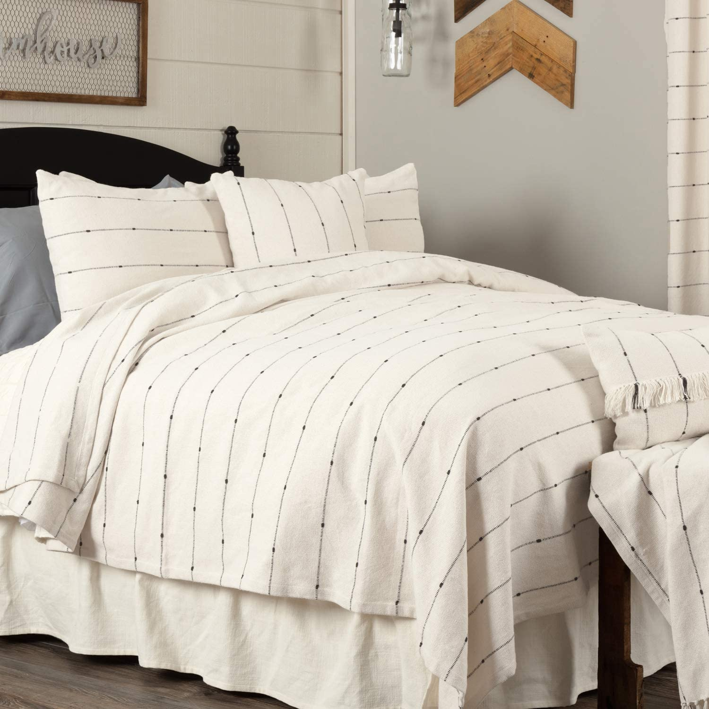 "Piper Classics Farmcloth Stripe Queen Coverlet Bedspread, 94"" x 94"", Urban Rustic Farmhouse Bedding, Natural Cream Woven w/Black Stripes Blanket"