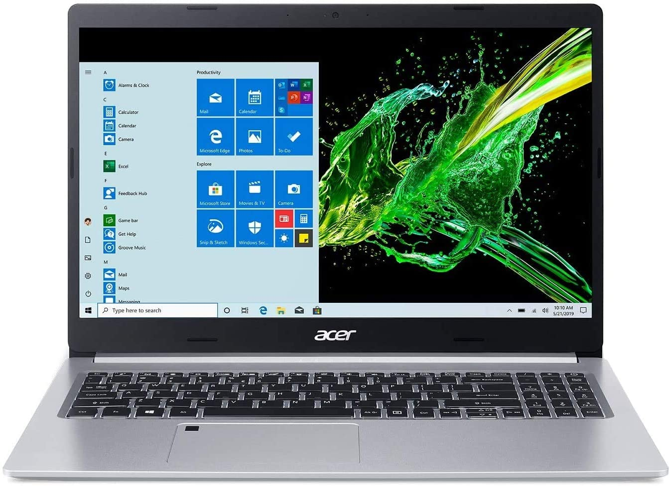 "Acer Aspire 5 15.6"" FHD IPS Laptop Computer 10th Gen Intel Core i5-1035G1 Processor (Up to 3.6GHz) 8GB RAM 128GB SSD WiFi 6, HD Webcam, Fingerprint Reader, Backlit Keyboard, Windows 10 Pro"