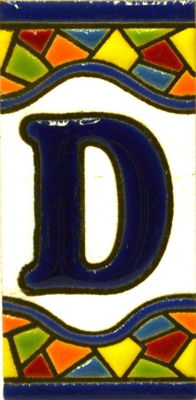 Disegno MOSAICO MINI 7,3 cm x 3,5 cm Testo personalizzabile Insegna con numeri e lettere fatte di piastrelle di ceramica policroma dipinte a mano con la tecnica cuerda seca nomi indirizzi e segnaletica LETTERA A