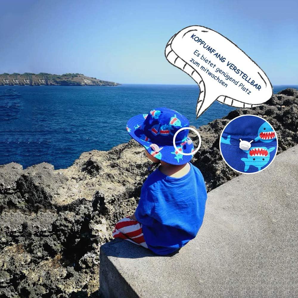 Atmungsaktiver Sommerm/ütze iiSPORT Baby Sonnenhut M/ädchen Junge Sommerhut mit Breiter Krempe UV Schutz 50 Kopfumfang verstellbar