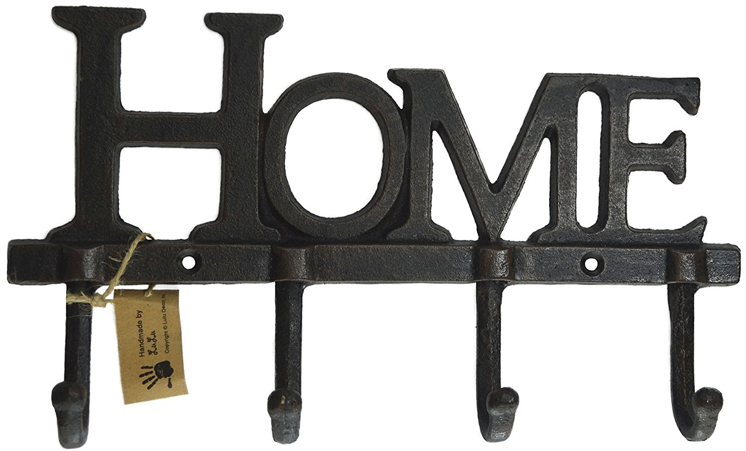LuLu Decor, Cast Iron Home Shape Key Holder, Coat Hanger