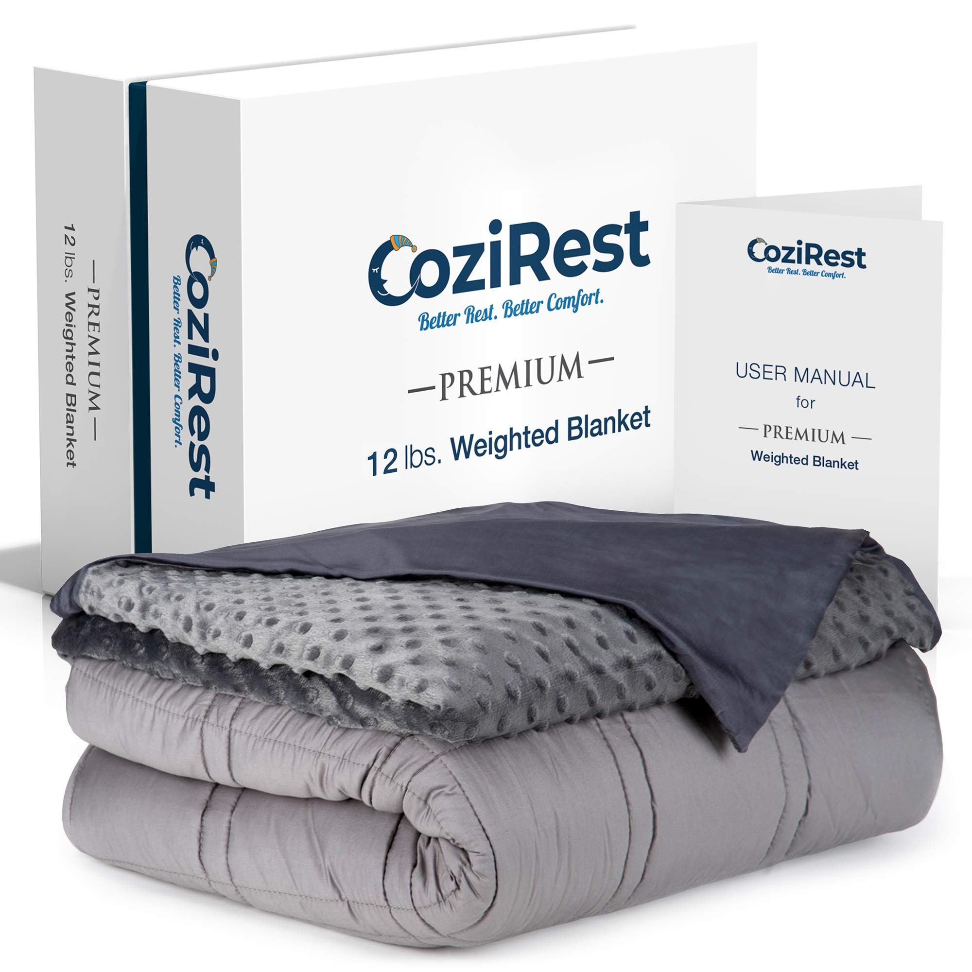 CoziRest Cooling Weighted Blanket | 12 lbs | 60x80 Queen Size | Cool Bamboo & Cozy Minky Dual-Sided Cover Included | Heavy Blanket for Adults and Kids from 110-140 lbs