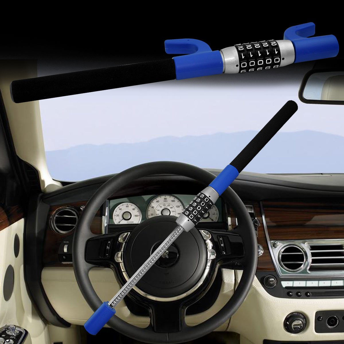 LC Prime Steering Wheel Lock Universal Vehicle Car Truck Van SUV Keyless Password Coded Twin Hooks Extendable Retractable Heavy Duty Security Guard Anti Theft Steel Plastic Blue