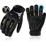 Vgo 1 Pair Heavy Duty Mechanic Gloves, Work Gloves, Impact Reducing, Touchscreen (Size M, Black, SL8849)