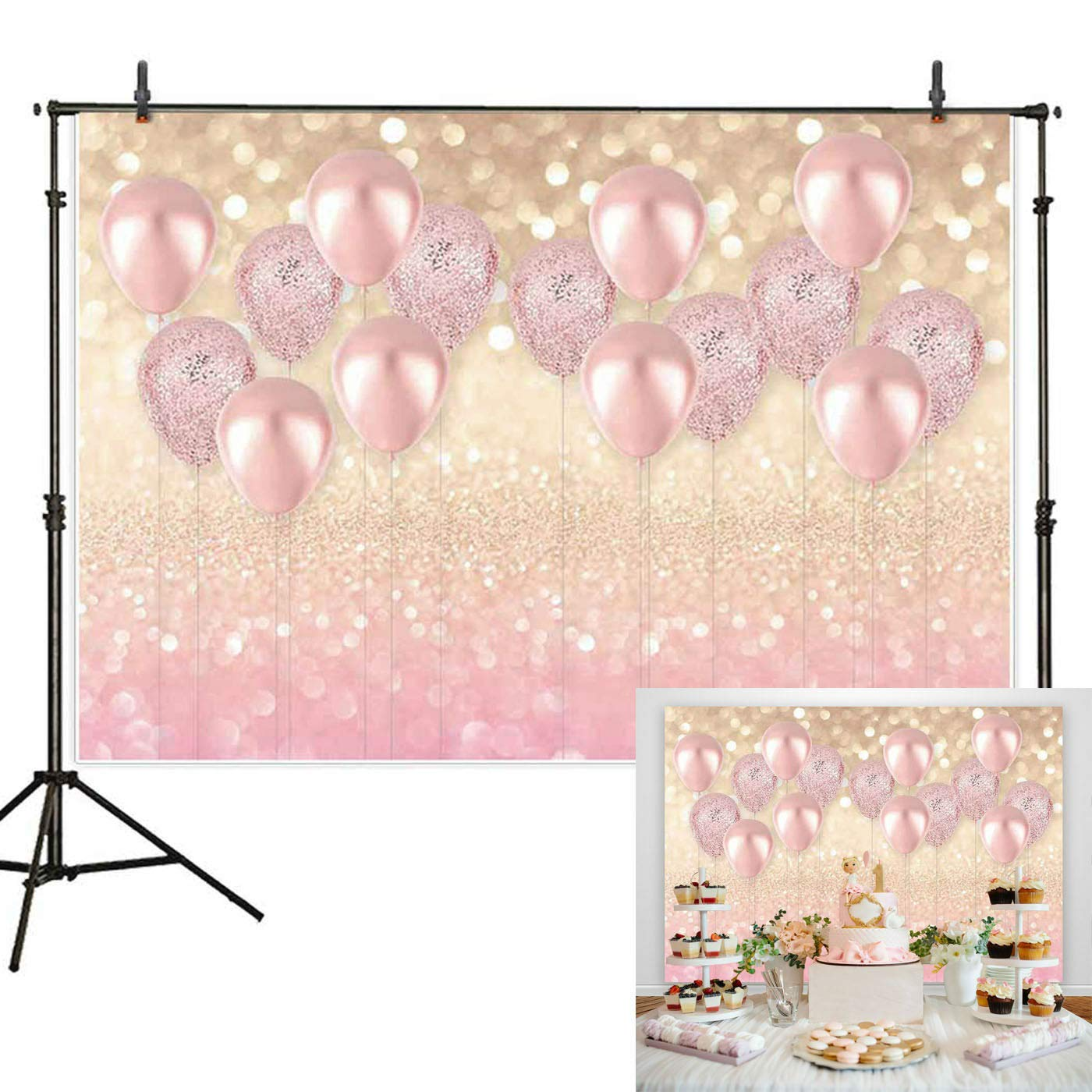 7x5ft Durable/Soft Fabric Rose Gold Party Decorations Pink Balloon Gold Glittter Bokeh Photo Backdrop for Birthday Baby Bridal Shower Bachelorette Party Supplies Photography Background Studio Props by Haboke