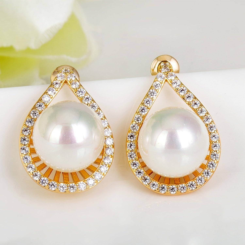 Beydodo Gold Plated Earrings Stud for Womens Pearl Drops Cubic Ziconia Earrings Wedding Earring for Bride