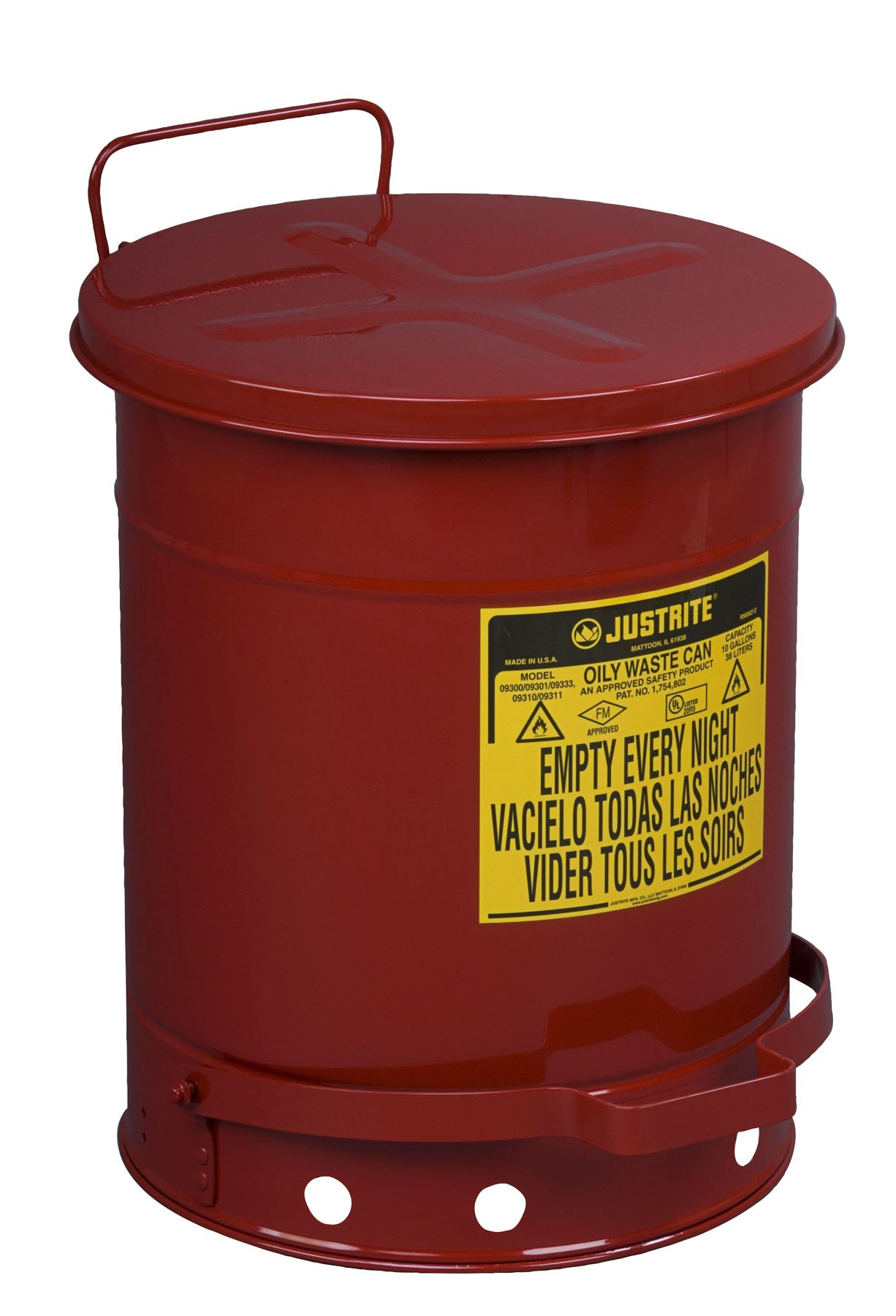 Justrite 09300; Galvanized-Steel; Safety cans; for Oily Waste; Red; Foot Operated Cover; Raised, Ventilated Bottom; Reinforced Ribs; Self-Closing; UL Listed; FM Approved; Capacity: 10 gal. (38L)