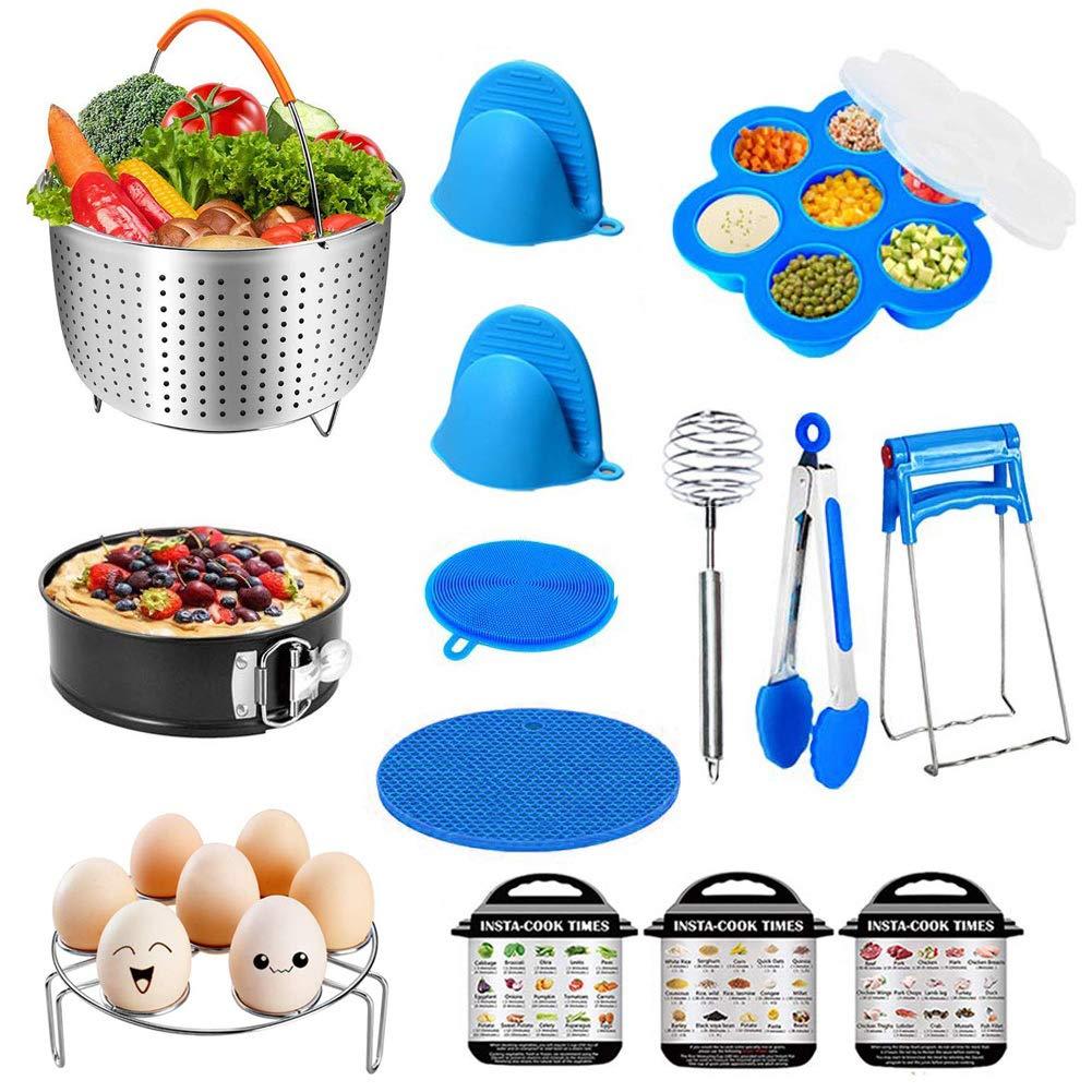 Pressure Cooker Accessories Set, 14 Pieces Instant Pot Accessories Compatible with Instant 5,6,8 Qt - Steamer Basket, Egg Rack, Springform Pan, Egg Bites Mold, Bowl Clip, Magnetic Cheat Sheets