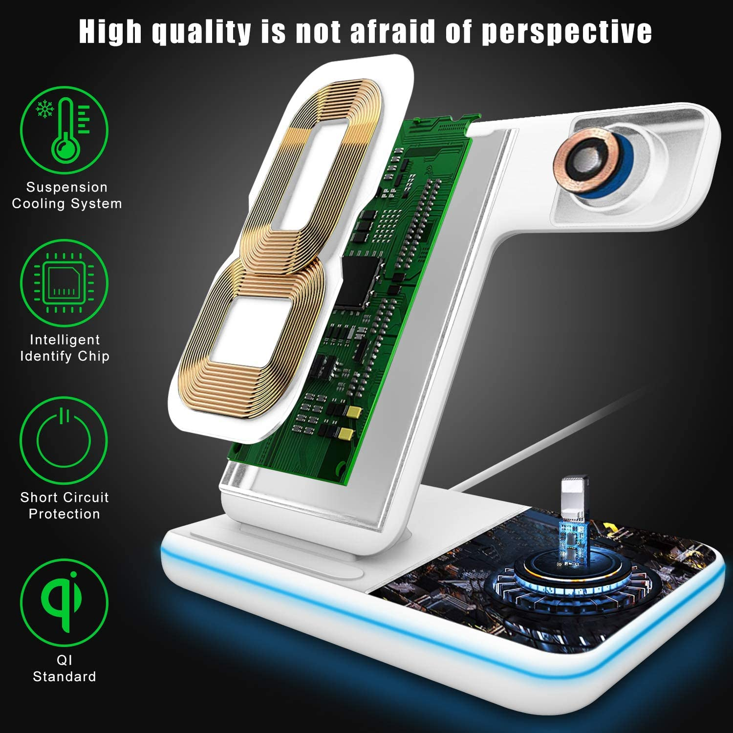 Elegant Choise Wireless Charger 2 in 1 Wireless Charging Stand 10W Dual Fast Charger Compatible with Galaxy S20//Note10//Note 7//Note 8//Note 9//Note 10 Black 5G//S7 Edge//S8//S9//S10 5G Galaxy Buds