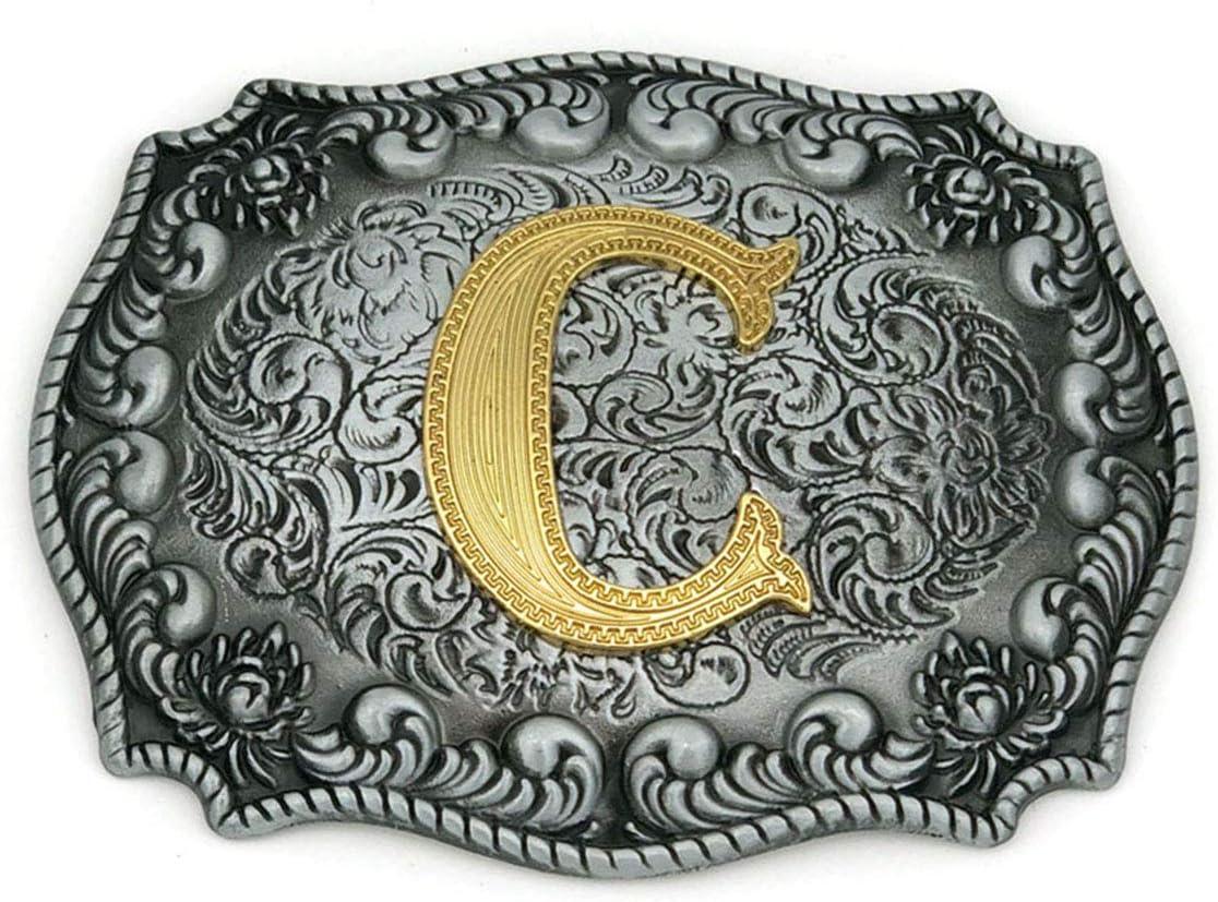 Western Belt Buckle Initial Letter ABCDJMS to Z Cowboy Rodeo Belt Buckles for Women Men C
