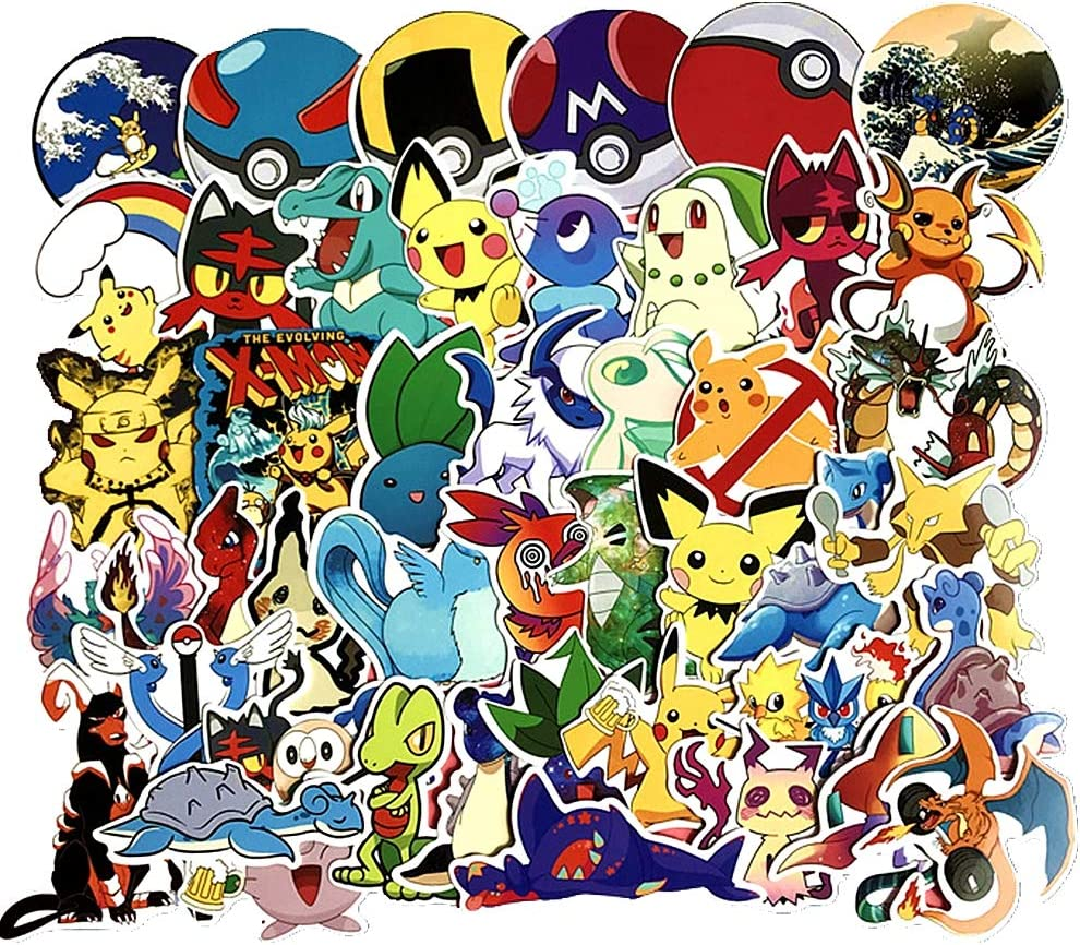 Pokemon Anime Sticker Pack of 45 Pokemon Decals for Laptops Hydro Flasks Water Bottles Luggage
