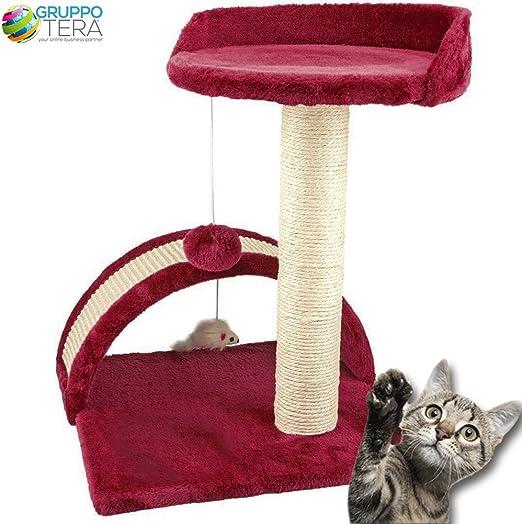 Bakaji - Rascador para gatos con superficies recubiertas de velboa de color rojo, con palo de sisal, pelota, ratón y caseta en forma de túnel: Amazon.es: Hogar