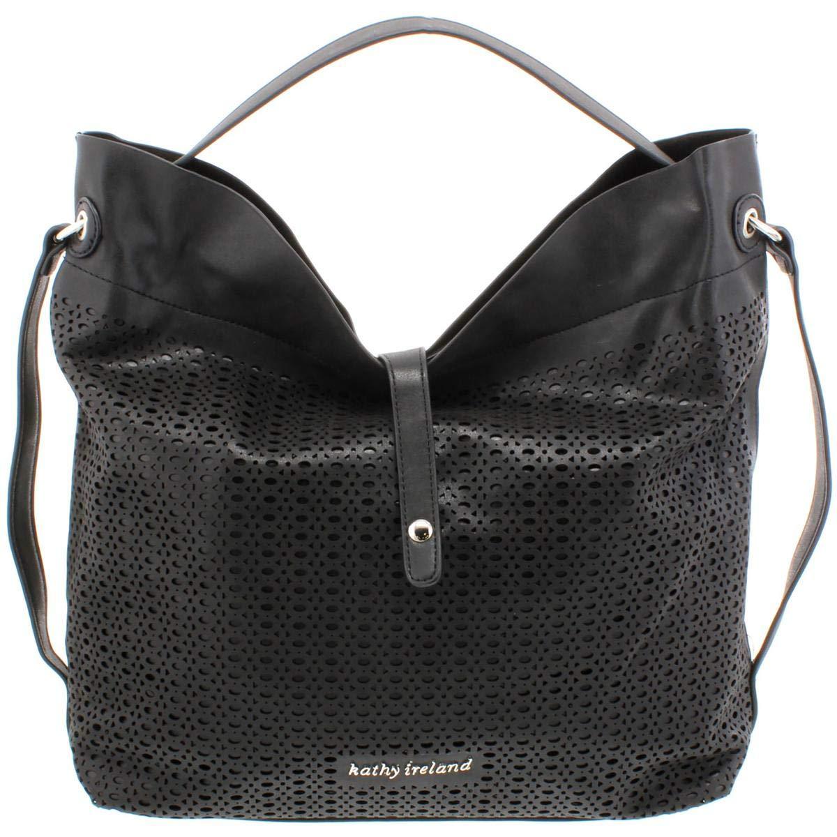 Kathy Ireland Womens Faux Leather Laser Cut Hobo Handbag Black Large