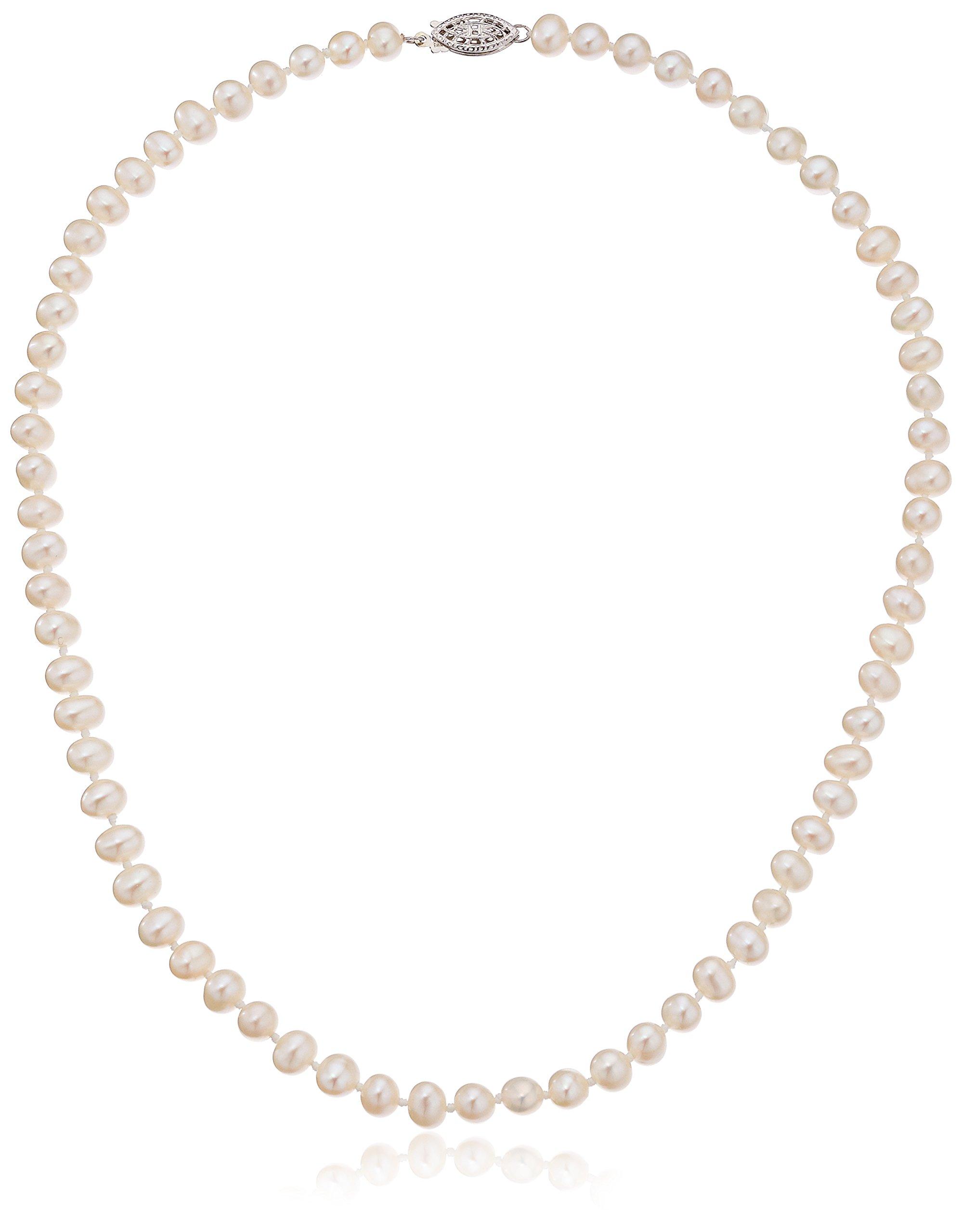 Sterling Silver White A-Grade Freshwater Cultured Pearl Necklace (5.5-6mm), 16''