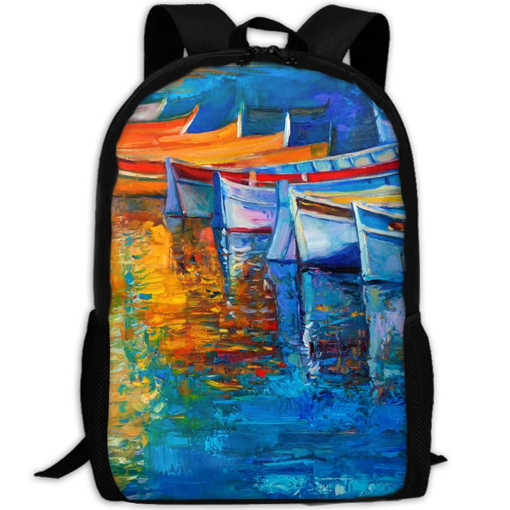 SZYYMM CustomPrinted Boat Oil Painting Oxford Cloth Fashion Backpack,Travel/Outdoor Sports/Camping/School, Adjustable Shoulder Strap Storage Backpack For Women And Men 85%OFF