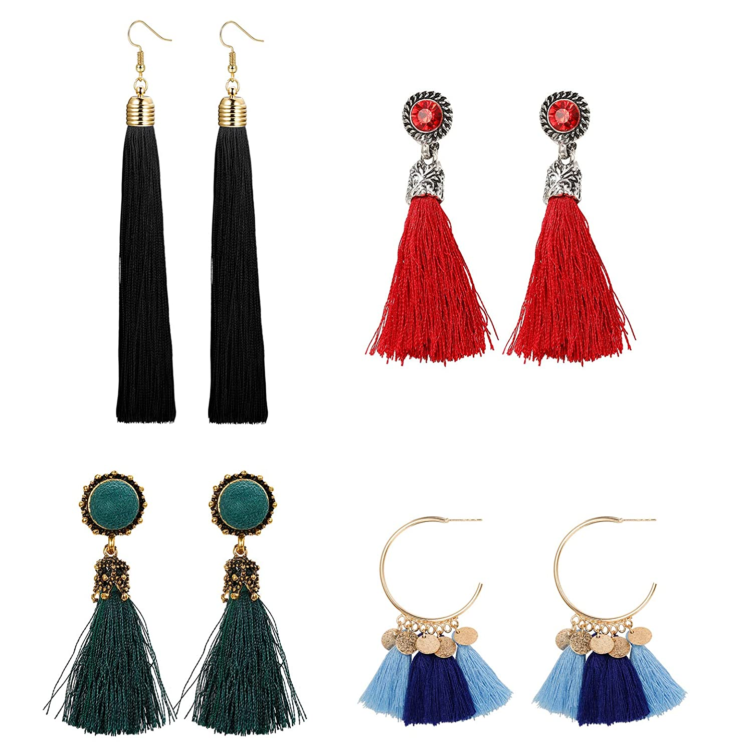 Milacolato 4-6 Pairs Long Tassel Earrings for Women Girls Dangle Boho Earrings Gold Hoop Bohemian Retro Vintage Assorted Multiple Mixed B07FFKJBWS_US