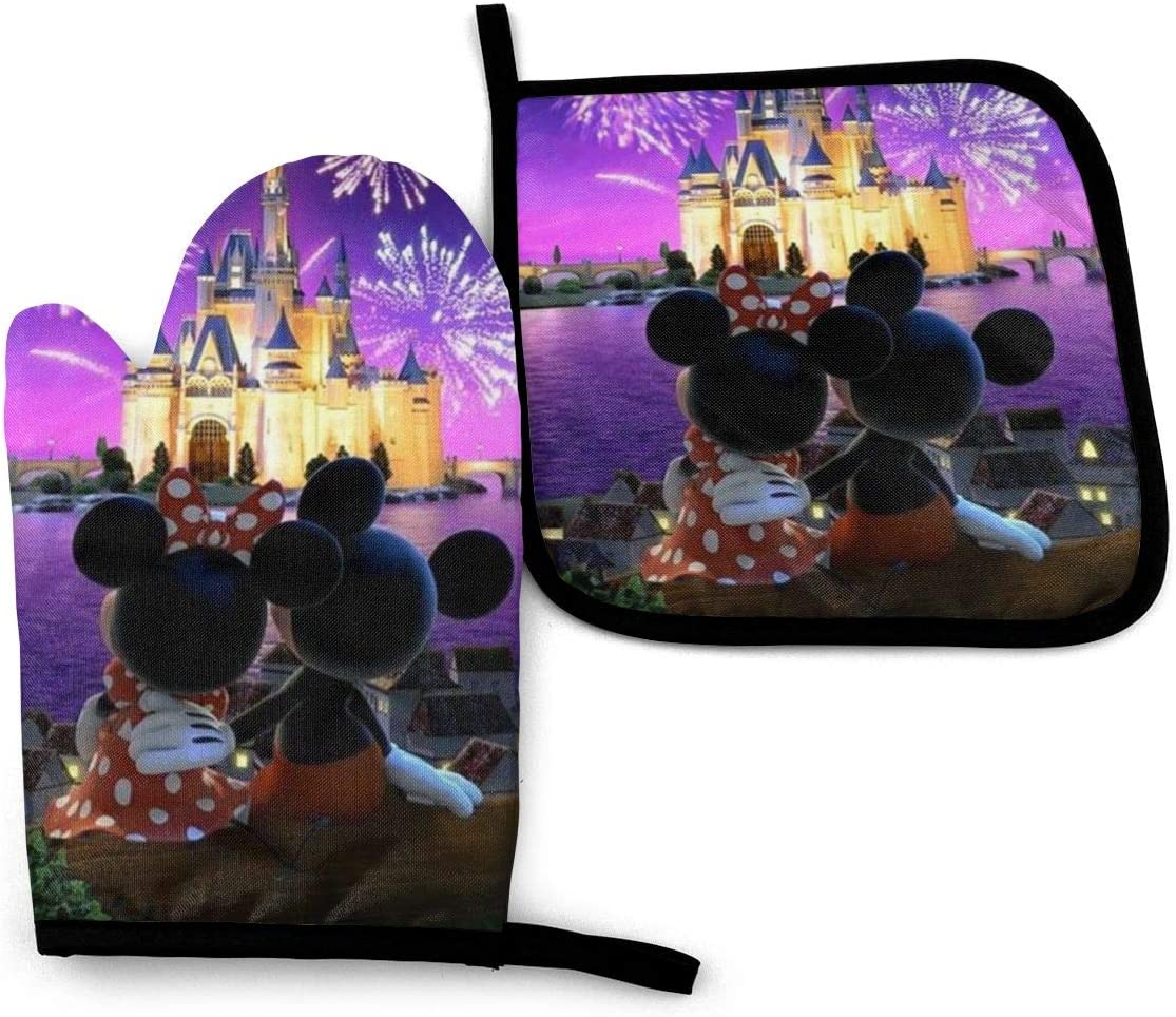 ZLCMMF Oven Mitts and Pot Holders - Minnie and Mickey Mouse Heat Resistant Kitchen Cooking Oven Gloves and Potholder Set