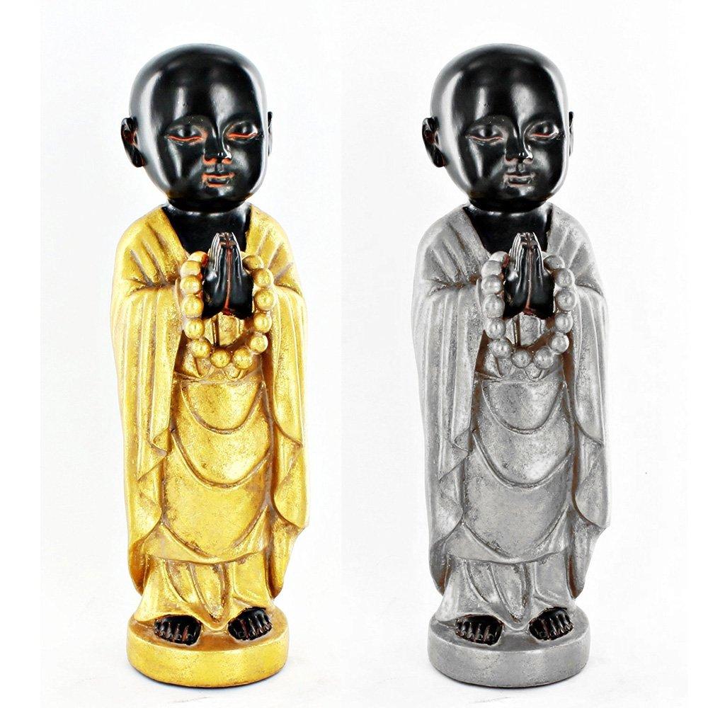 Turtle King Corp Buddhist Monk Praying Gold Oriental Asian Statue Sculpture Table Art Decor D15207