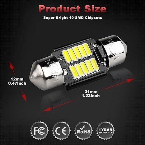 1W High Power 12V 31mm Festoon Bulb boot 2 x 1 x F31 LED dome light Roof