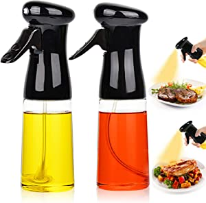 Oil Sprayer for Cooking 2PACK Set Refillable Olive Oils Dispenser Spray Versatile Vinegar Spritzer Bottle Food Grade PET Oil Spray Bottle Plastic for Air Fryer Kitchen BBQ Salad Baking 7Oz/200ML Black