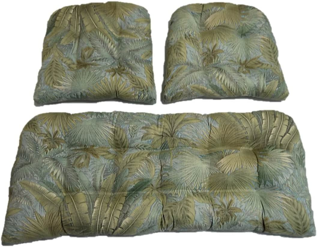 3 Piece Wicker Cushion Set – Tommy Bahama Tropical Palm Leaf Bahamian Breeze Surf – Green, Blue, Tan Indoor Outdoor Fabric Cushion for Wicker Loveseat Settee 2 Matching Chair Cushions