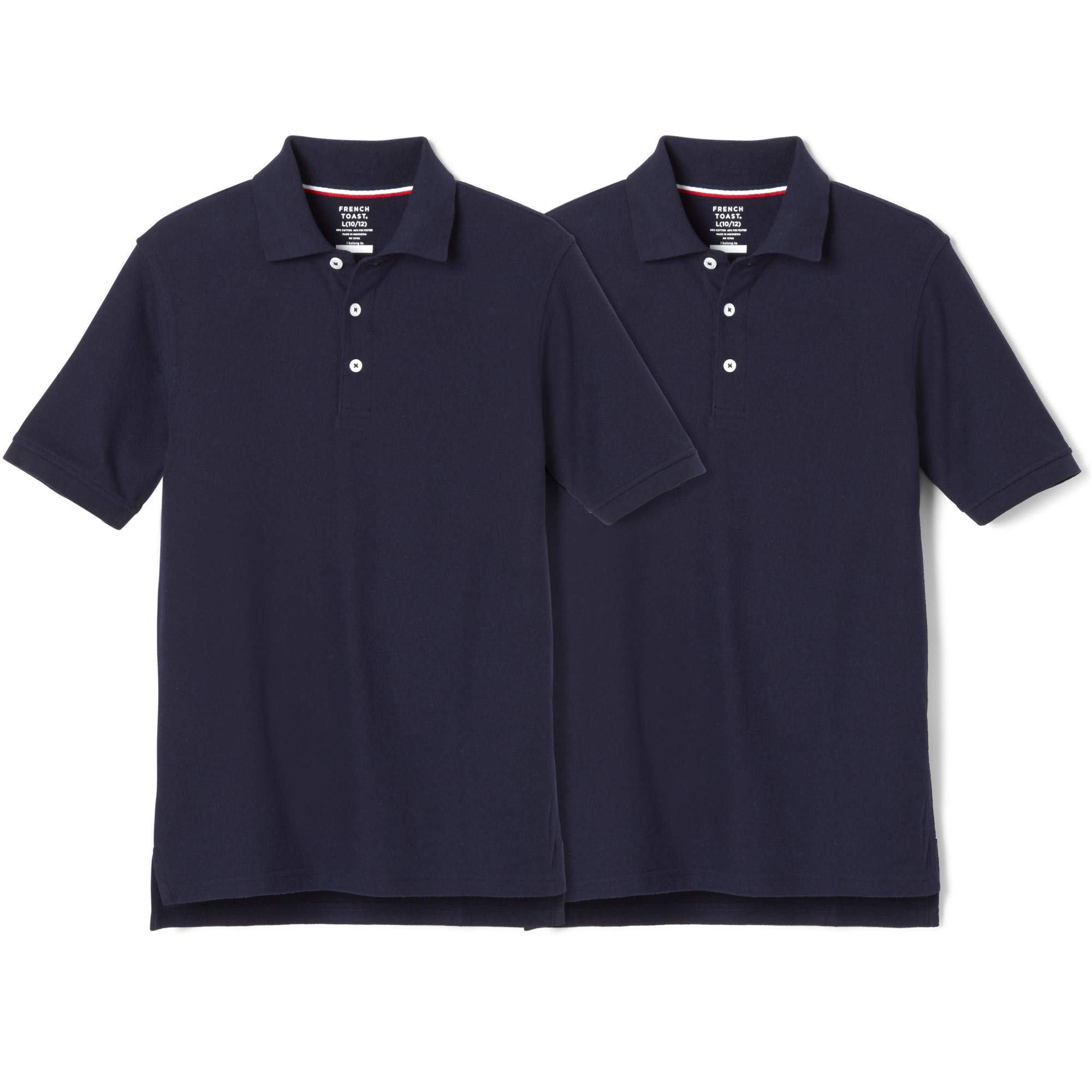 French Toast Boys' Big 2-Pack Short Sleeve Pique Polo Shirt, Navy, L (10/12)