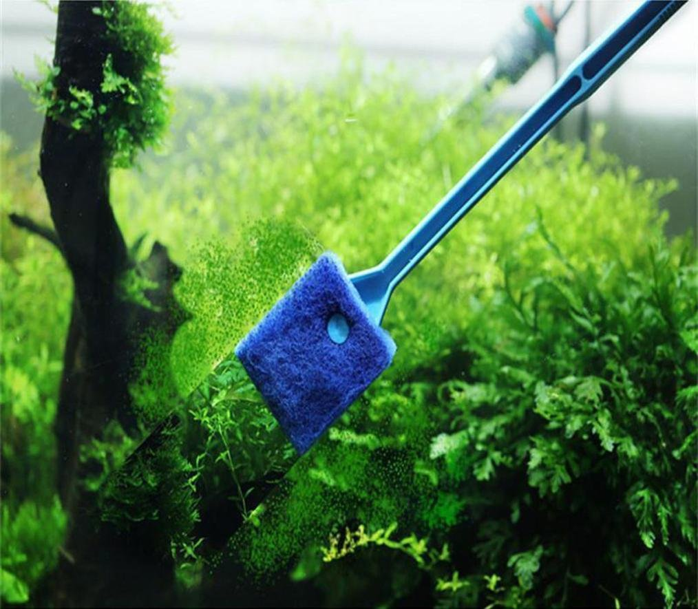 YJYdada Practical Aquarium Plant Algae Cleaner Glass Fish Tank Clean Cleaning Brush (Green)