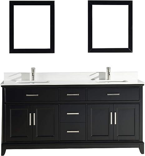 Vanity Art 72 Inches Double Sinks Bathroom Vanity Set White Super Phoenix Stone Top 5 Drawers 2 Shelves Undermount Rectangle Sink Cabinet