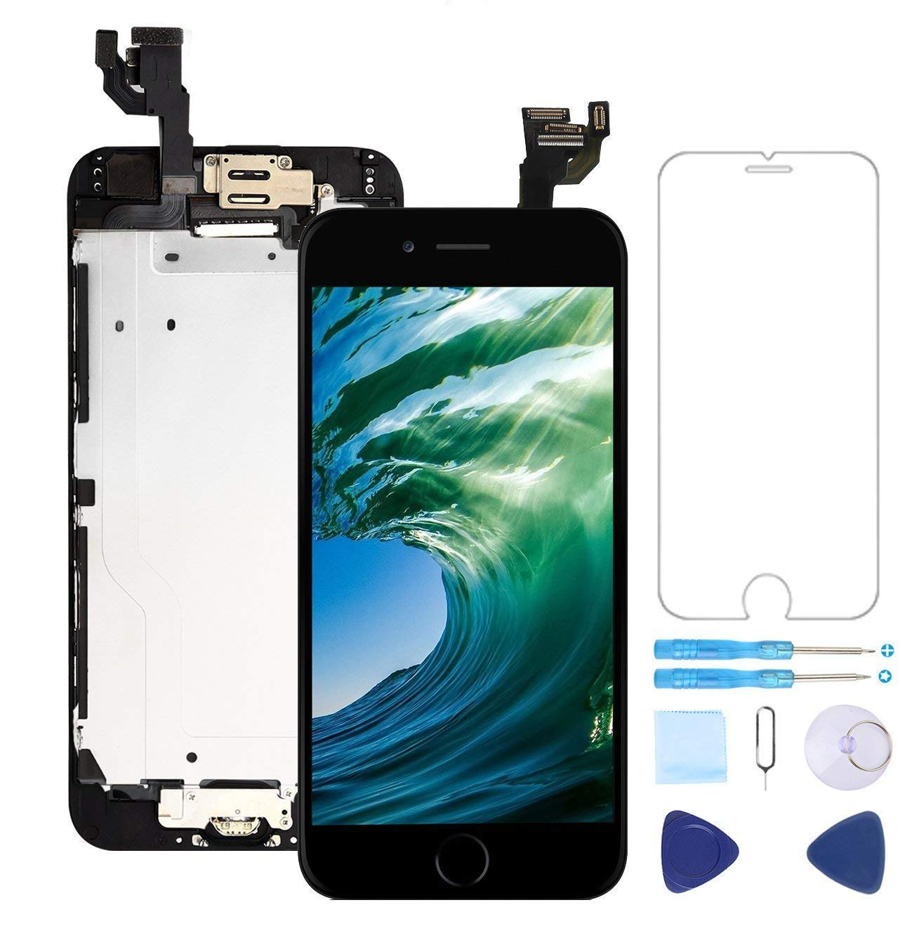 Screen Replacement for iPhone 6 Plus Black 5.5'' LCD Display Touch Digitizer Frame Assembly Full Repair Kit,with Home Button,Proximity Sensor,Ear Speaker,Front Camera,Screen Protector,Repair Tools by Topscreen