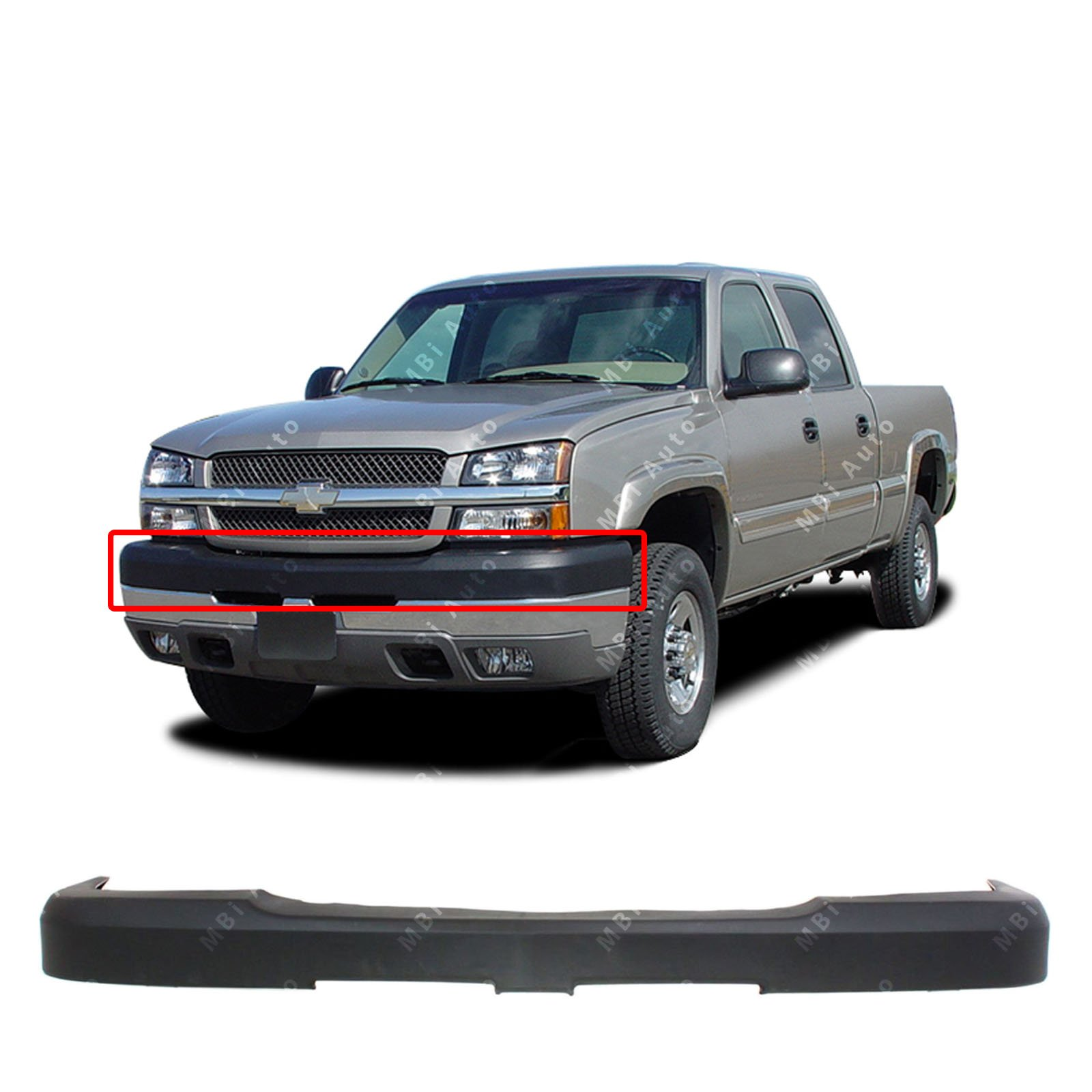 MBI AUTO - Textured, Black Front Bumper Top Cover for 2003 2004 2005 2006 2007 Chevy Silverado 2500/3500 Heavy Duty Pickup 03-07, GM1051109